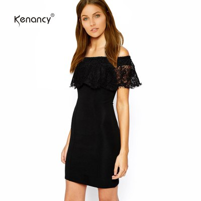 Kenancy Sexy Off Shoulder Lace Sheat Dress Female Short Club Pencil Dress