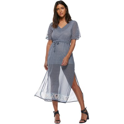 2016 fashion printing V-neck sexy perspective raglan woman elastic waist dressMidi-Dress<br>2016 fashion printing V-neck sexy perspective raglan woman elastic waist dress<br>