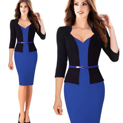 Kenancy Fashion Hit Color Stitching Sheat Dress Women Three Quarter Sleeve Sexy V-neck Slim Pencil Dress Wear To Work With BeltBodycon Dresses<br>Kenancy Fashion Hit Color Stitching Sheat Dress Women Three Quarter Sleeve Sexy V-neck Slim Pencil Dress Wear To Work With Belt<br>