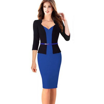 Kenancy Fashion Hit Color Stitching Sheat Dress Women Three Quarter Sleeve Sexy V-neck Slim Pencil Dress Wear To Work With Belt