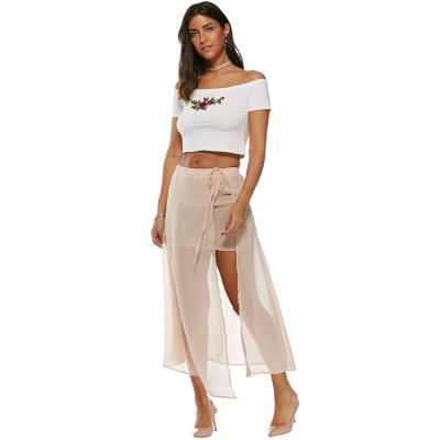 2016 new arrival sexy split design woman nude pink chiffon skirtMaxi Dresses<br>2016 new arrival sexy split design woman nude pink chiffon skirt<br>