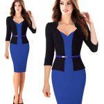 cheap Kenancy Fashion Hit Color Stitching Sheat Dress Women Three Quarter Sleeve Sexy V-neck Slim Pencil Dress Wear To Work With Belt