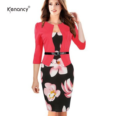 Kenancy Hot Patchwork Stretch Flower Pencil Dress Elegant Women Plus Size Bodycon  Casual Work Dress With BeltBodycon Dresses<br>Kenancy Hot Patchwork Stretch Flower Pencil Dress Elegant Women Plus Size Bodycon  Casual Work Dress With Belt<br>