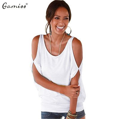 2016 new fashion sexy style off the shoulder design woman after the bind casual loose t-shirt