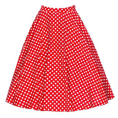 2016 new fashion retro polka dot print design woman big hem elegant a-line skirt