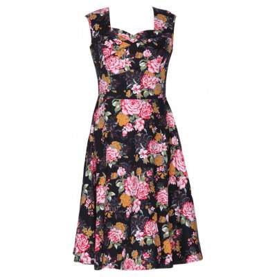 Elegant Women 2016 New Arrival Vintage Hepbum Floral Print Dress Retro Big Swing 50s 60s Rockabilly Tutu Pinup Sleeveless Bodycon Formal Dress Plus Size