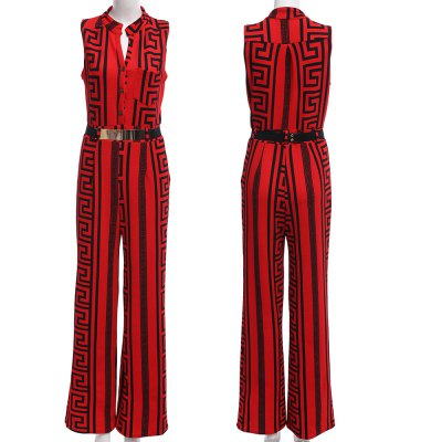 Kenancy Plus Size Long Jumpsuits Fashion Texture Printing Gold Belted Rompers Casual Work Wear With BeltJumpsuits &amp; Rompers<br>Kenancy Plus Size Long Jumpsuits Fashion Texture Printing Gold Belted Rompers Casual Work Wear With Belt<br>