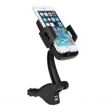 Universal Car Holder Mount Cigarette Lighter Charger 360°Rotation with 2 USB 3A for iPhone7s 6s Plus 6s 5s 5c Samsung Galaxy S8 Up-to-6inches Wide