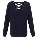 cheap Lace-Up Back Knitted Sweater