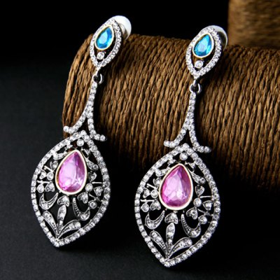 Pair of Vintage Faux Gemstone Hollow Out Water Drop Earrings For WomenEarrings<br>Pair of Vintage Faux Gemstone Hollow Out Water Drop Earrings For Women<br><br>Earring Type: Drop Earrings<br>Gender: For Women<br>Material: Crystal,Rhinestone<br>Style: Classic<br>Shape/Pattern: Water Drop<br>Weight: 0.050KG<br>Package Contents: 1 x Earring (Pair)