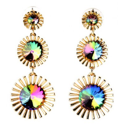 Pair of Vintage Faux Crystal Alloy Floral Earrings For Women