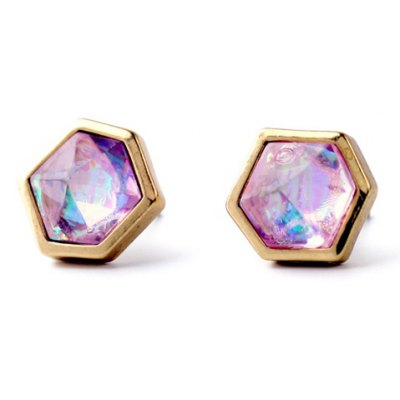Fake Gemstone Hexagon Stud Earrings