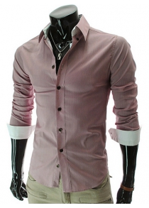 Casual Solid Color Turn Down Collar Long Sleeve Shirt For Men