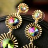 Pair of Vintage Faux Crystal Alloy Floral Earrings For Women photo