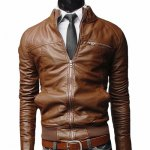 Stand Collar Rib Splicing Design Long Sleeve PU-Leather Jacket For Men