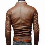 cheap Stand Collar Rib Splicing Design Long Sleeve PU-Leather Jacket For Men