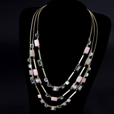 Delicate Faux Gemstone Multilayered Necklace For Women