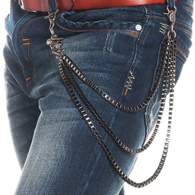 Skull Shape Embellished Three Layered Metal Trousers Chain For Men