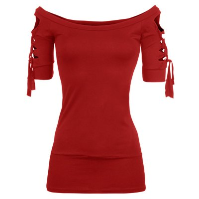 Fashionable Scoop Neck Short Sleeve Solid Color Lace-Up Hollow Out T-Shirt For WomenWomens T-Shirts<br>Fashionable Scoop Neck Short Sleeve Solid Color Lace-Up Hollow Out T-Shirt For Women<br><br>Material: Polyester<br>Clothing Length: Regular<br>Sleeve Length: Short<br>Collar: Scoop Neck<br>Style: Fashion<br>Season: Summer<br>Pattern Type: Solid<br>Weight: 0.180KG<br>Package Contents: 1 x T-Shirt