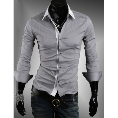 Turn Down Collar Long Sleeves For Men
