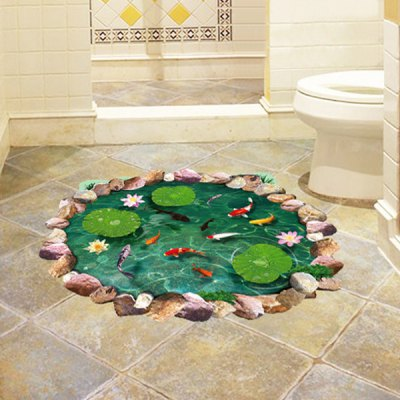 3D Lotus Pond Bathroom Stickers