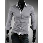 Simple Style Turn Down Collar Long Sleeves For Men
