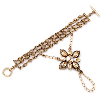 Trendy Faux Crystal Flower Drop Bracelet For Women