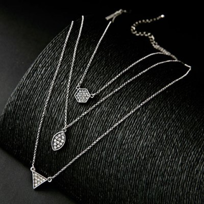 Vintage Rhinestone Multilayered Geometric Necklace For WomenNecklaces &amp; Pendants<br>Vintage Rhinestone Multilayered Geometric Necklace For Women<br><br>Item Type: Pendant Necklace<br>Gender: For Women<br>Necklace Type: Link Chain<br>Material: Rhinestone<br>Metal Type: Alloy<br>Style: Romantic<br>Shape/Pattern: Geometric<br>Length: 40CM<br>Weight: 0.066KG<br>Package Contents: 1 x Necklace