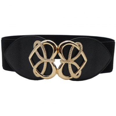 Chic Hollow Out Heart Shape Alloy Embellished Elastic Waistband For Women