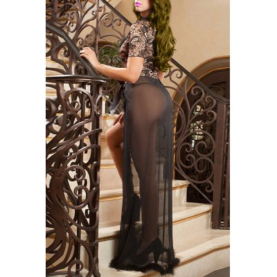 Sexy Plunging Neck Short Sleeve See-Through Slit Babydoll For WomenWomens Pajamas<br>Sexy Plunging Neck Short Sleeve See-Through Slit Babydoll For Women<br><br>Material: Polyester<br>Pattern Type: Patchwork<br>Embellishment: None<br>Weight: 0.570KG<br>Package Contents: 1 x Babydoll  1 x T-Back
