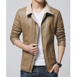 Buy Fleece Turn-Down Collar Long Sleeve PU-Leather Thicken Jacket Men 3XL