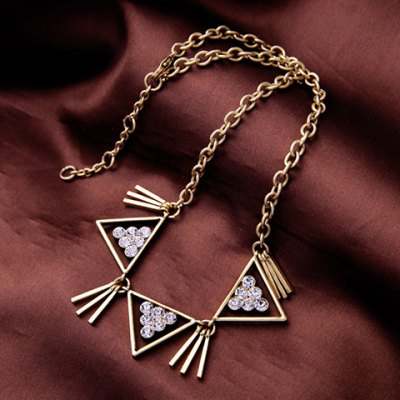 Vintage Rhinestone Hollow Out Triangle Shape Necklace For WomenNecklaces &amp; Pendants<br>Vintage Rhinestone Hollow Out Triangle Shape Necklace For Women<br><br>Item Type: Pendant Necklace<br>Gender: For Women<br>Necklace Type: Link Chain<br>Material: Rhinestone<br>Metal Type: Alloy<br>Style: Trendy<br>Shape/Pattern: Geometric<br>Length: 47CM<br>Weight: 0.085KG<br>Package Contents: 1 x Necklace