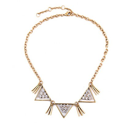Vintage Rhinestone Hollow Out Triangle Shape Necklace For Women