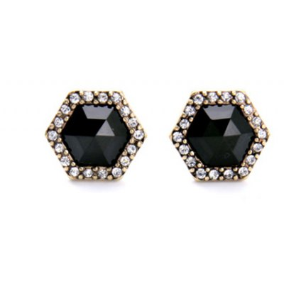 Delicate Faux Crystal Rhinestone Hexagon Shape Earrings For Women