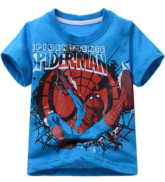 Stylish Short Sleeve Cartoon Spider-Man Pattern T-Shirt Boy 130 BLUE
