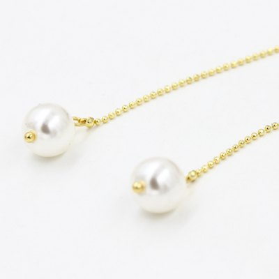 Pair of Chic Faux Pearl Bead Chain Earrings For Women