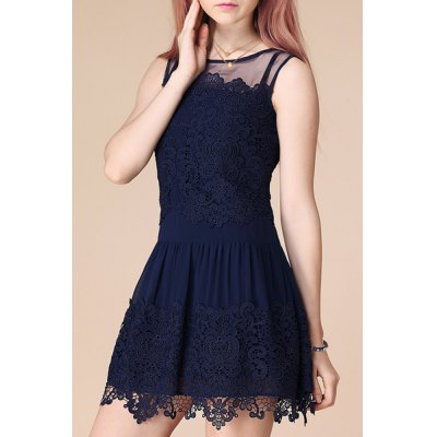 Chic See-Through Spliced Solid Color Lace Dress For WomenWomens Dresses<br>Chic See-Through Spliced Solid Color Lace Dress For Women<br><br>Style: Cute<br>Material: Lace,Polyester<br>Silhouette: A-Line<br>Dresses Length: Mini<br>Neckline: Jewel Neck<br>Sleeve Length: Sleeveless<br>Pattern Type: Solid<br>With Belt: No<br>Season: Summer<br>Weight: 0.250KG<br>Package Contents: 1 x Dress