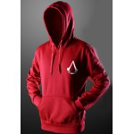 Buy Trendy Front Pocket Assassins Creed Print Drawstring Hooded Long Sleeves Pullover Hoodie Men 2XL