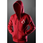 Buy Red Assassins Creed Print Front Pocket Drawstring Hooded Long Sleeves Zip Hoodie Men-21.76 Online Shopping GearBest.com