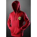 Buy Drawstring Hooded Front Pocket Chinese Characters Print Long Sleeves Pullover Hoodie Men 2XL