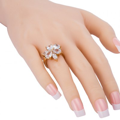 Graceful Rhinestone Floral Water Drop Ring For Women