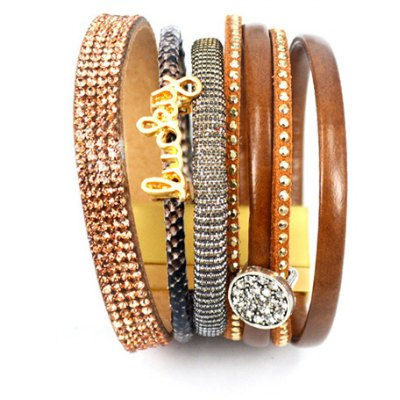 Chic Rhinestone Multilayered Chunky Faux Leather Bracelet For Women