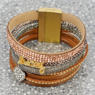 Chic Rhinestone Multilayered Chunky Faux Leather Bracelet For WomenBracelets &amp; Bangles<br>Chic Rhinestone Multilayered Chunky Faux Leather Bracelet For Women<br><br>Item Type: Wrap Bracelet<br>Gender: For Women<br>Chain Type: Leather Chain<br>Style: Trendy<br>Shape/Pattern: Others<br>Length: 19CM<br>Weight: 0.080KG<br>Package Contents: 1 x Bracelet