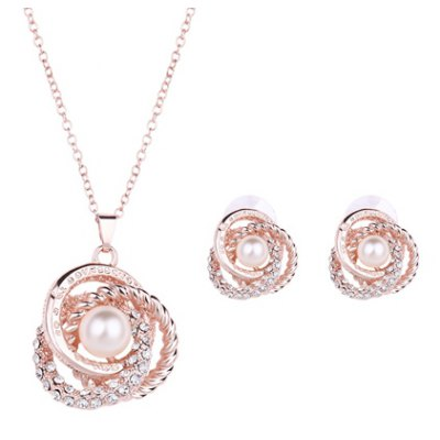 Charming Rhinestone Floral Shape Pendant Necklace and Earrings For Women