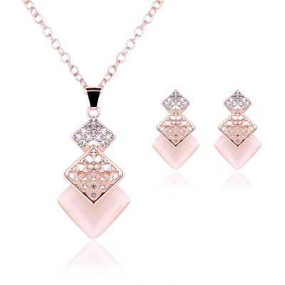 Charming Rhinestone Rhombus Tassel Pendant Necklace and Earrings For Women