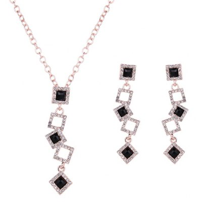 Charming Rhinestone Square Tassel Pendant Necklace and Earrings For Women
