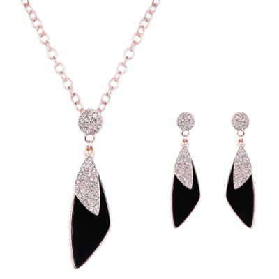 Charming Rhinestone Polygon Pendant Necklace and Earrings For Women
