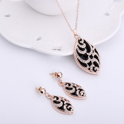 Charming Rhinestoned Oval Shape Pendant Necklace and Earrings For WomenNecklaces &amp; Pendants<br>Charming Rhinestoned Oval Shape Pendant Necklace and Earrings For Women<br><br>Item Type: Pendant Necklace<br>Gender: For Women<br>Necklace Type: Link Chain<br>Material: Rhinestone<br>Metal Type: Alloy<br>Style: Romantic<br>Shape/Pattern: Geometric<br>Length: 4CM(Earring)<br>Weight: 0.080KG<br>Package Contents: 1 x Necklace 1 x Earring(Pair)