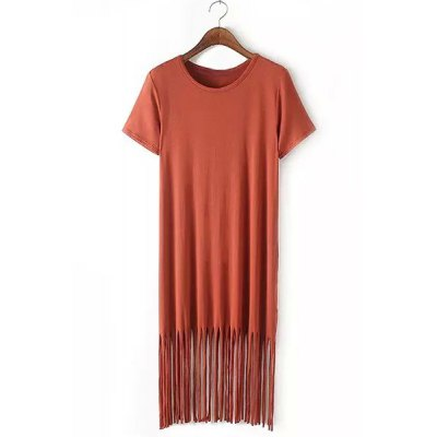 Фотография Casual Solid Color Short Sleeve Tassel Design Midi Dress For Women