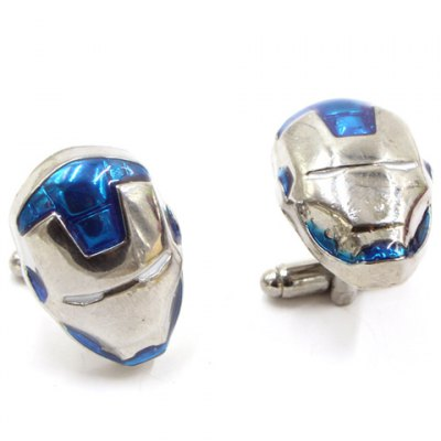 Pair of Stylish Movie Iron Man Mask Shape Cufflinks For Men
